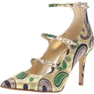 "NIB Marc Fisher gold multi fabric 3.5"" pump"